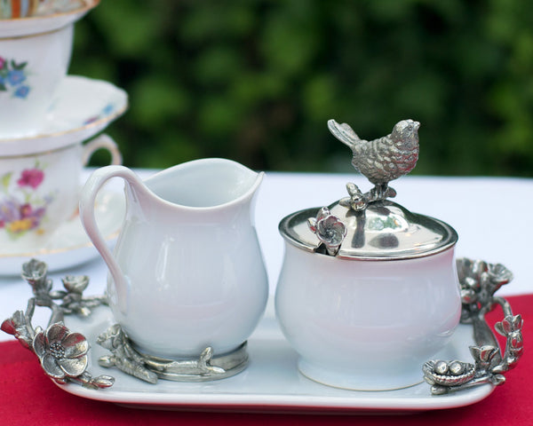 Stoneware Creamer Set - Pewter Song Bird