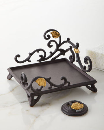 Metal Gold Leaf Napkin Holder with Weight
