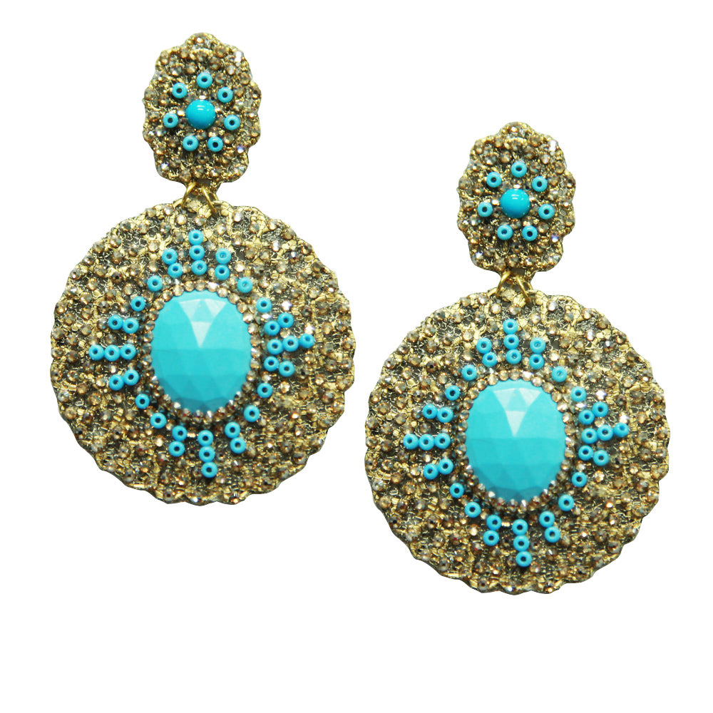 Gold Plated Metal Round Mesh Earring