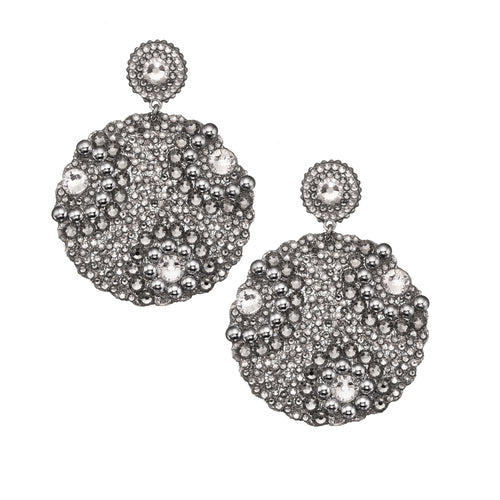 Swarovski Crystal Silver Plated Metal Circle Earring