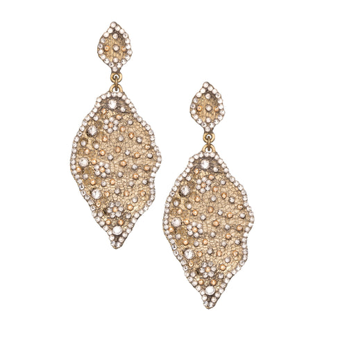 Swarovski Crystal Gold Plated Metal Leaf Shape Earring