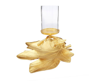 Gold Embossed Leaf Dish with Branched Candle Holder