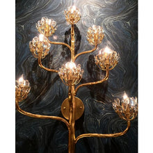Agave Americana Wall Sconce - mounted on a black marble wall