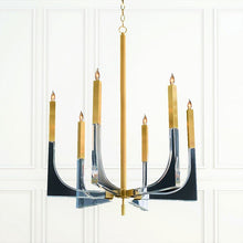 Acrylic and Brass Six-Light Chandelier