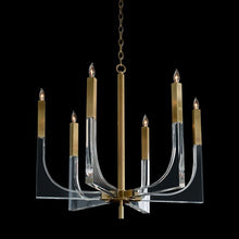 Acrylic and Brass Six-Light Chandelier, Black Background
