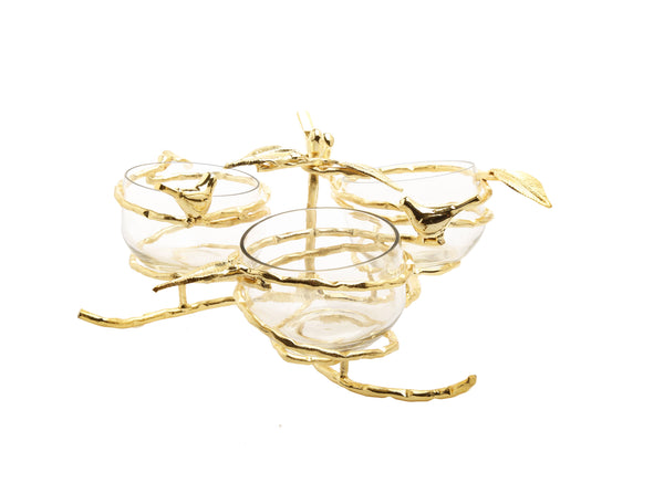 Gold Leaf 3 Bowl Relish Dish With Glass Inserts