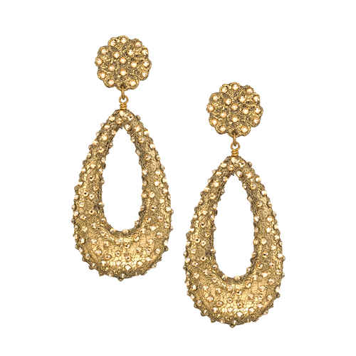 Swarovski Crystal Sprayed Open Teardrop Gold Mesh Earring