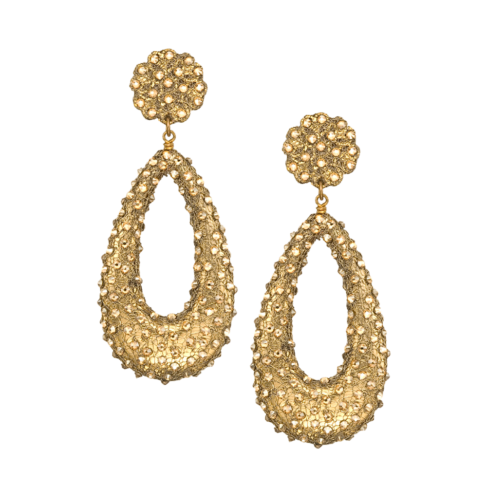 Swarovski Crystal Sprayed Open Teardrop Gold Mesh Earrings