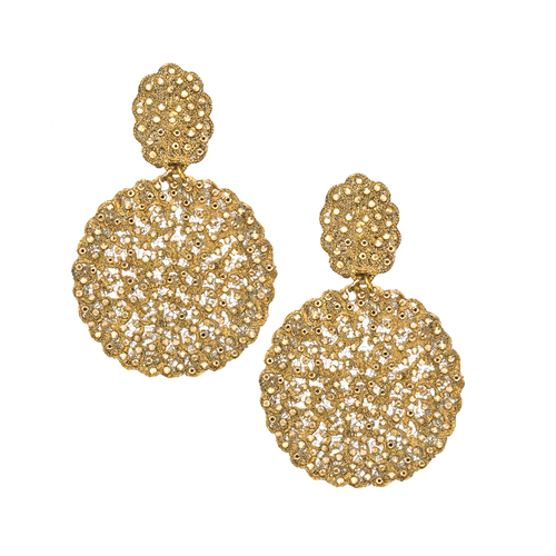Double Disc Swarovski CrystalSprayed Gold Mesh Earring