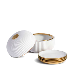 Ionic Box & Plates (Set of 4)