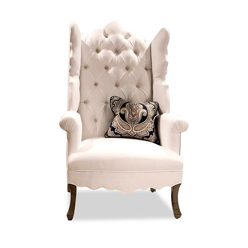 Isabella White Wing Chair