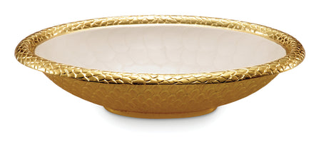 "Florentine 15"" Oval Bowl Gold Snow"