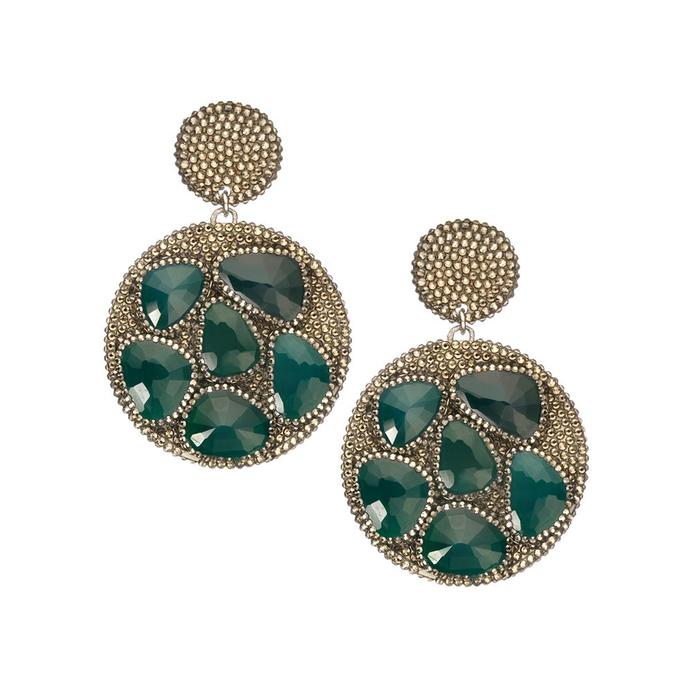 Green Onyx Slices on Pave Swarovski Crystal Discs