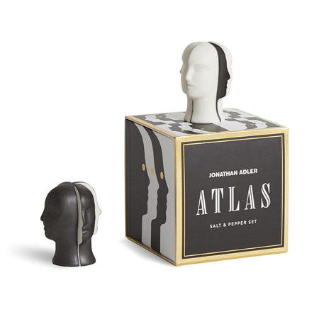 Atlas  Pepper next to the box and Salt on top of the box
