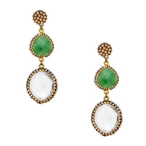 Clear Green Stonnes/Gold Swarovski Crystals Pave Earring
