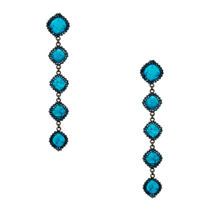 Turquoise Stones / Hematite Swarovski Crystals Pave Earrings