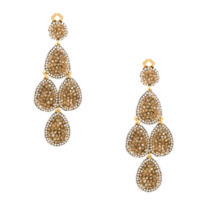 Gold Swarovski Crystal Gold Plated Metal Chandelier Earring