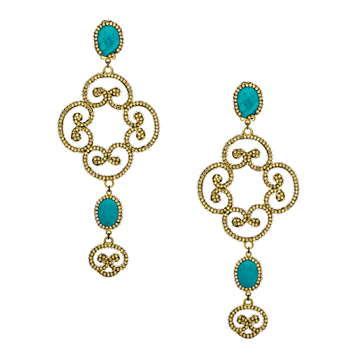 Gold Swarovski Pave Gold Plated Earring With Turquoise Stones