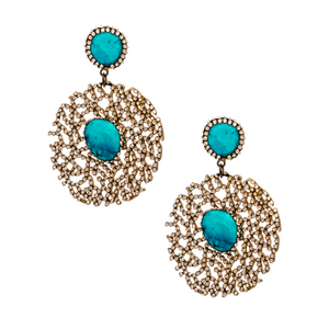 Gold Swarovski Crystal Pave Gold Plated Earring With Turquoise Stones