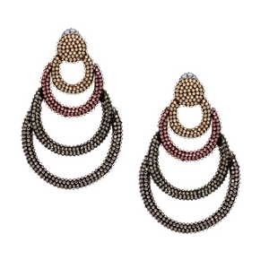 Silver Plated Metal Pave Earring
