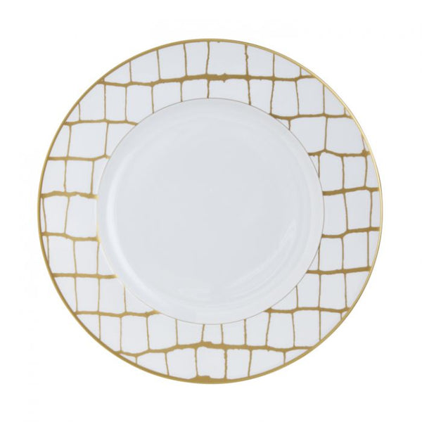 Alligator Gold-White Dinner Plate