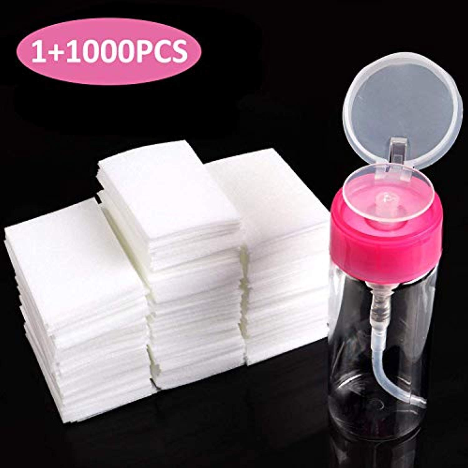Remover Pad & Pump Dispenser Bottle for Soak Off Gel (1,000pcs pads)