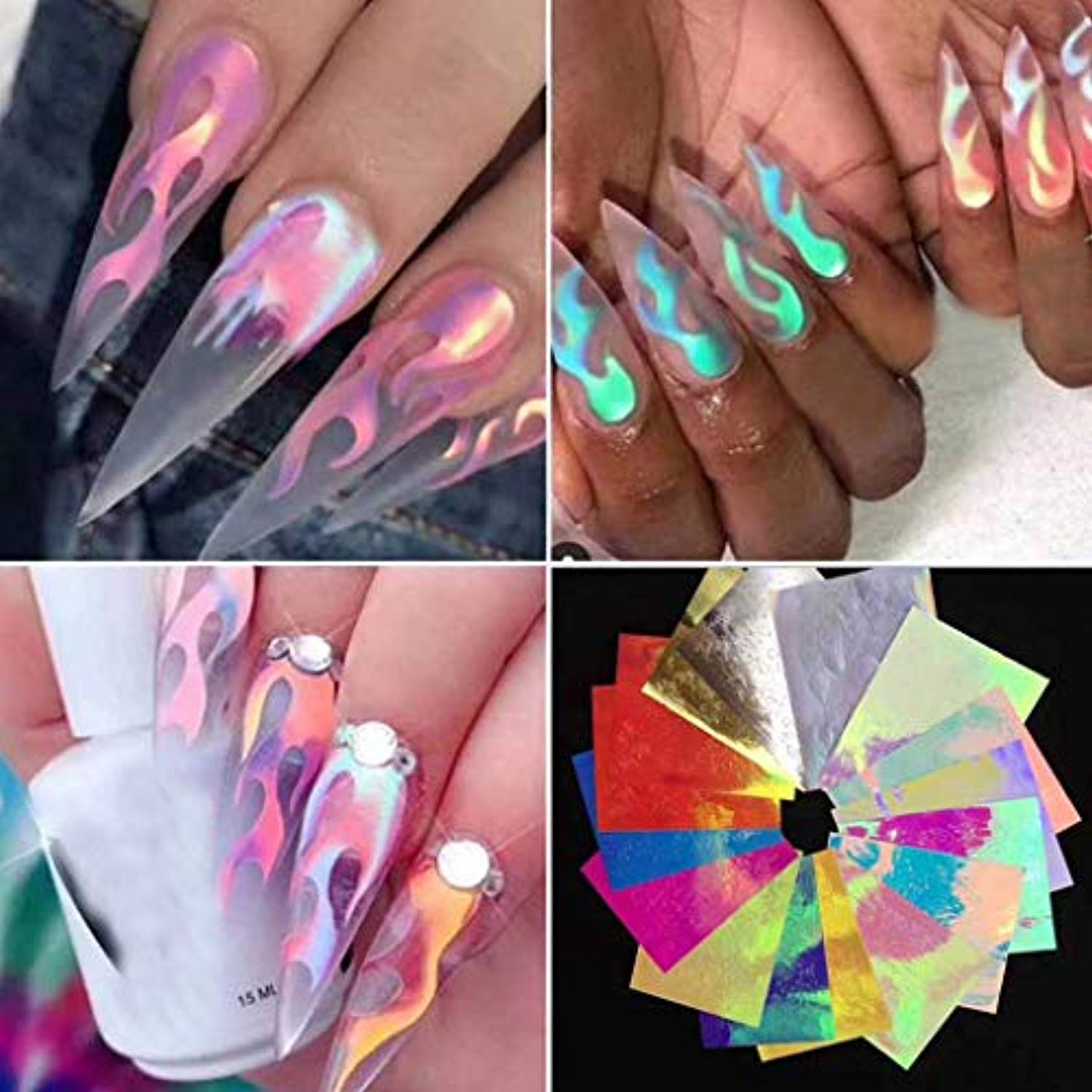 Holographic Fire Flame Nail Art Decals 3D (16pcs)
