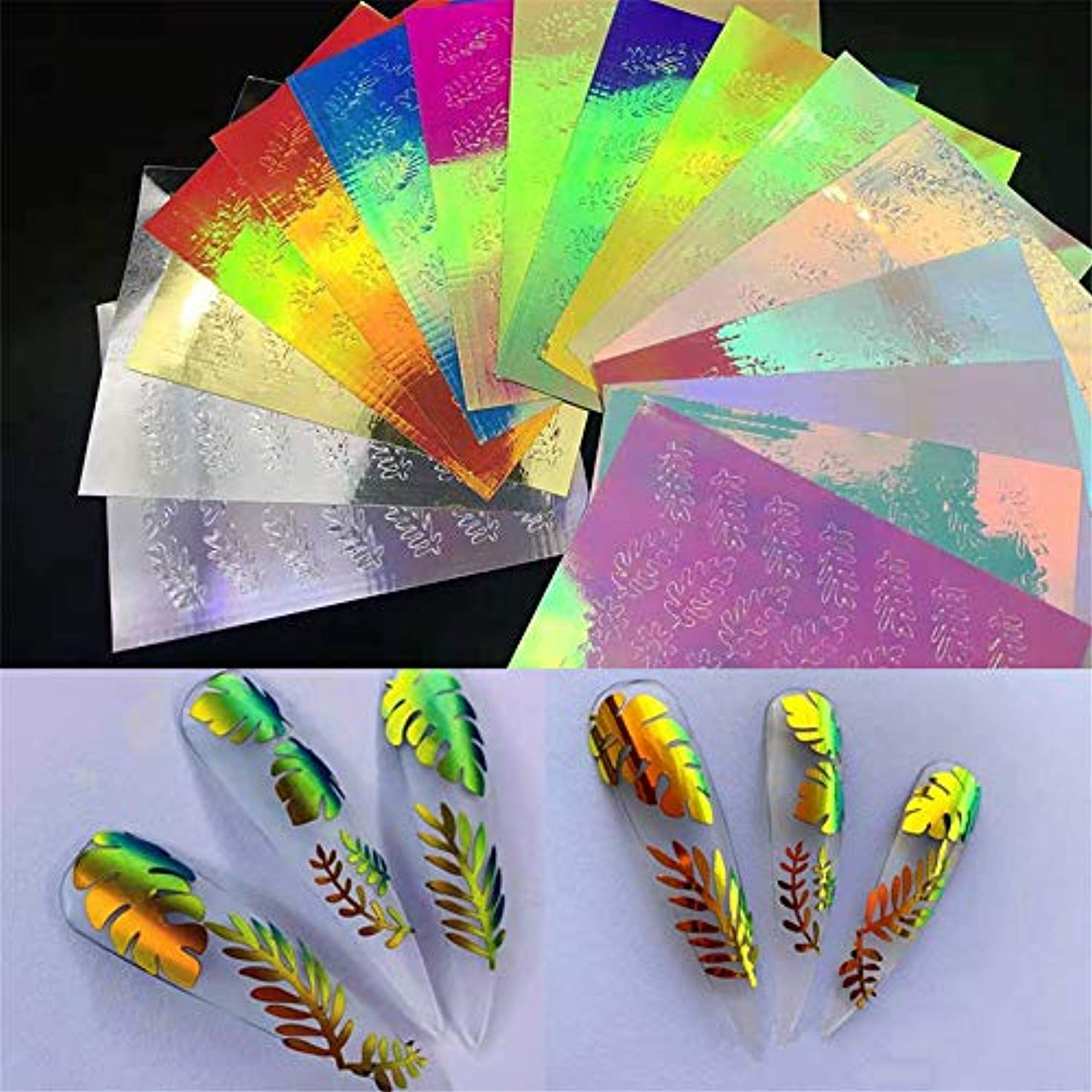 Leaf Leaves Nail Holographic Multicolor (16 sheet)