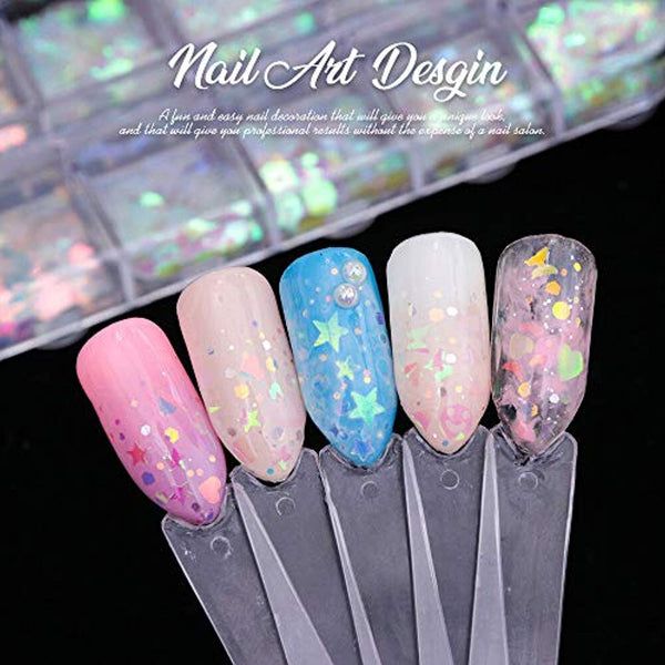 Holographic Nail Sequins & Mrmaid Flakes Ultra-thin (12 Boxes)