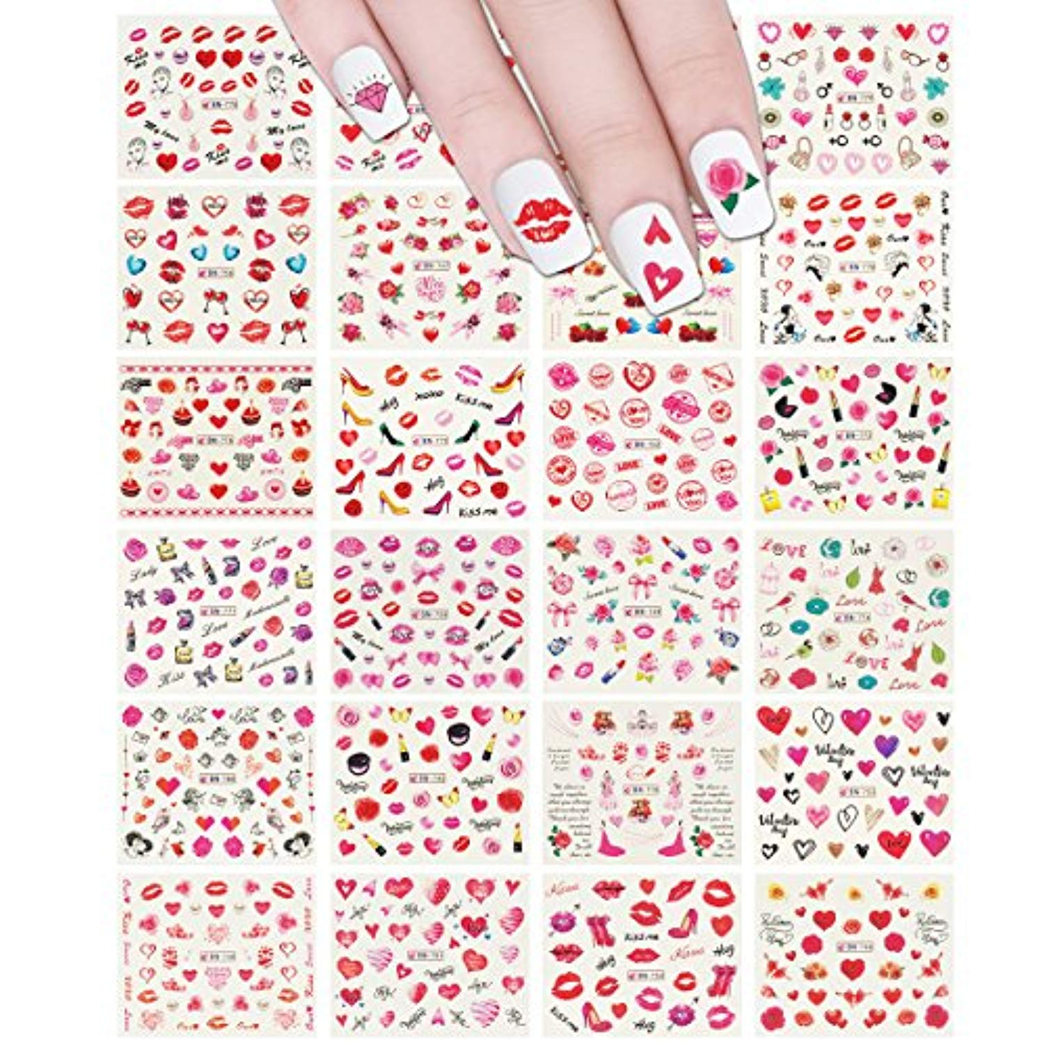 Valentine Nail Sticker - Red Flowers & Heart (24 sheets)