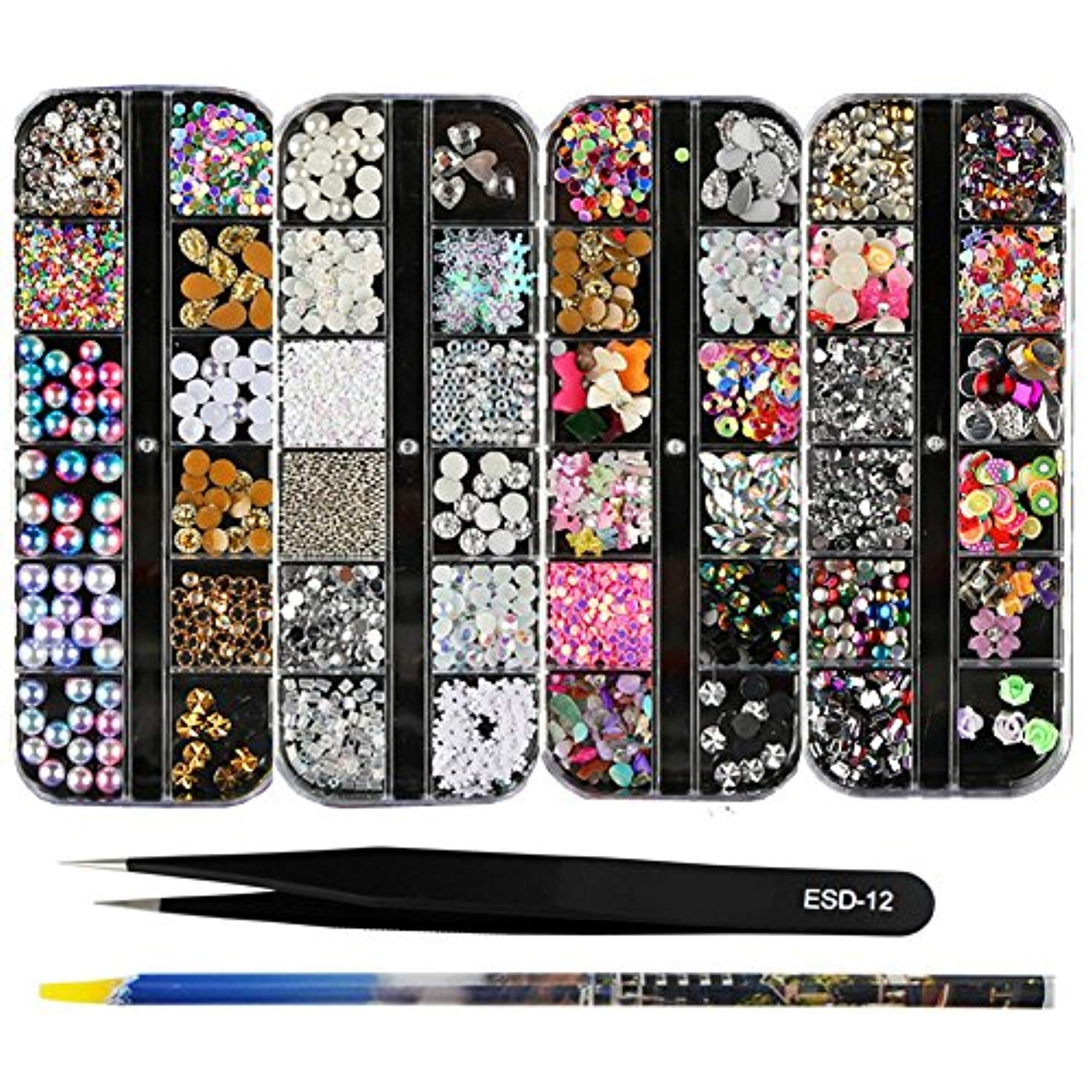 3D Nail Art Rhinestones ( 4 boxes + 1 dotting pen + 1 straight tweezer)