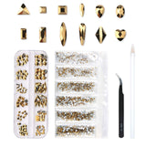 Multi Shapes Glass Crystal AB Rhinestones Mix 12 Style (120 pcs Crystals + 1728 pcs rhinestones)
