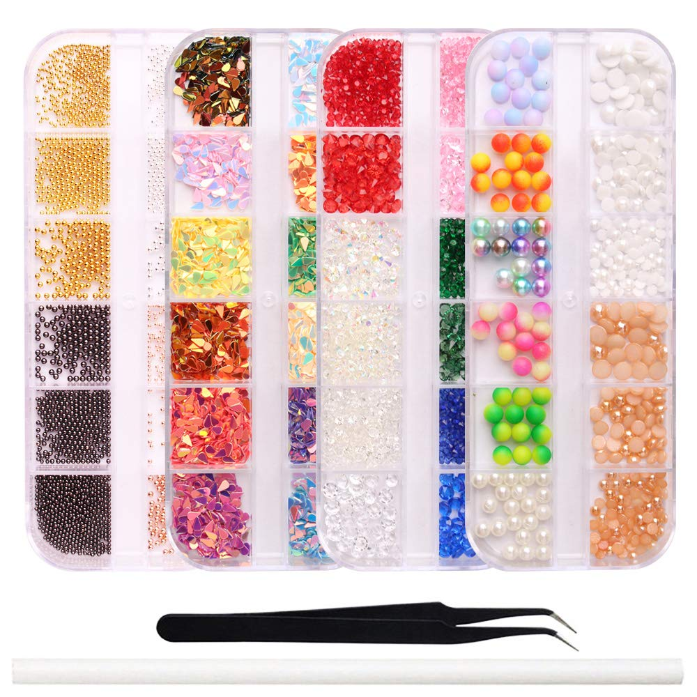 Nail Crystals And Rhinestones Rose Gold Metal (4 boxes) Free 1 Rhinestone Picker & 1 Nippers Tweezers
