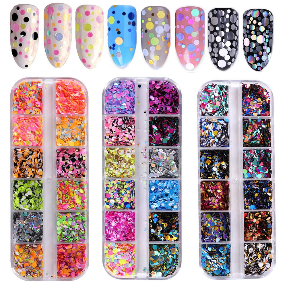 Grids Nail Sequins Mixed 3D Nail Art Stickers (5 boxes)