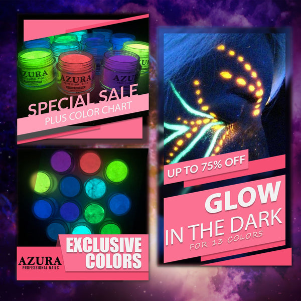 AZURA Dip Powder (2in1) - Glow in the Dark Collection (13 colors) + Free Color Chart