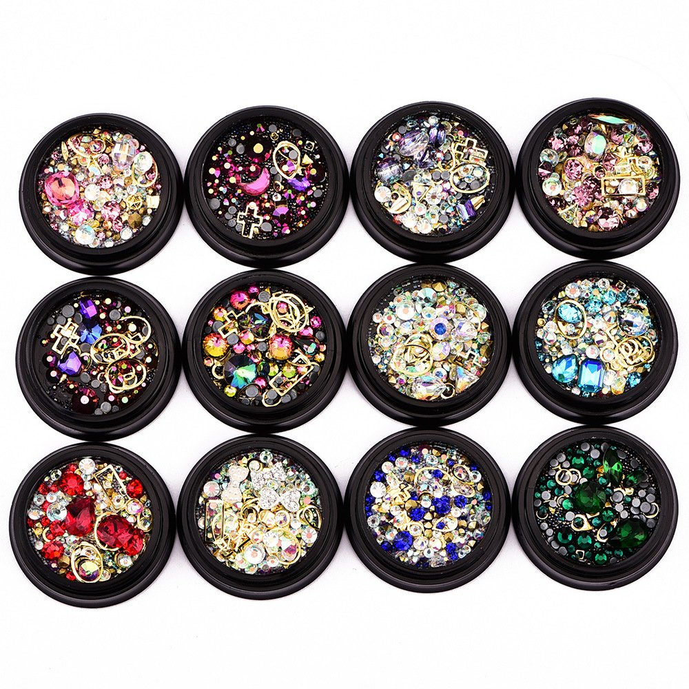 Rhinestones Diamonds Crystals Metal Studs Beads Gems mixed (12 boxes)