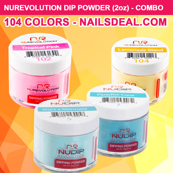 NuRevolution Dip Powder (2oz) - COMBO 104 colors - Free color chart