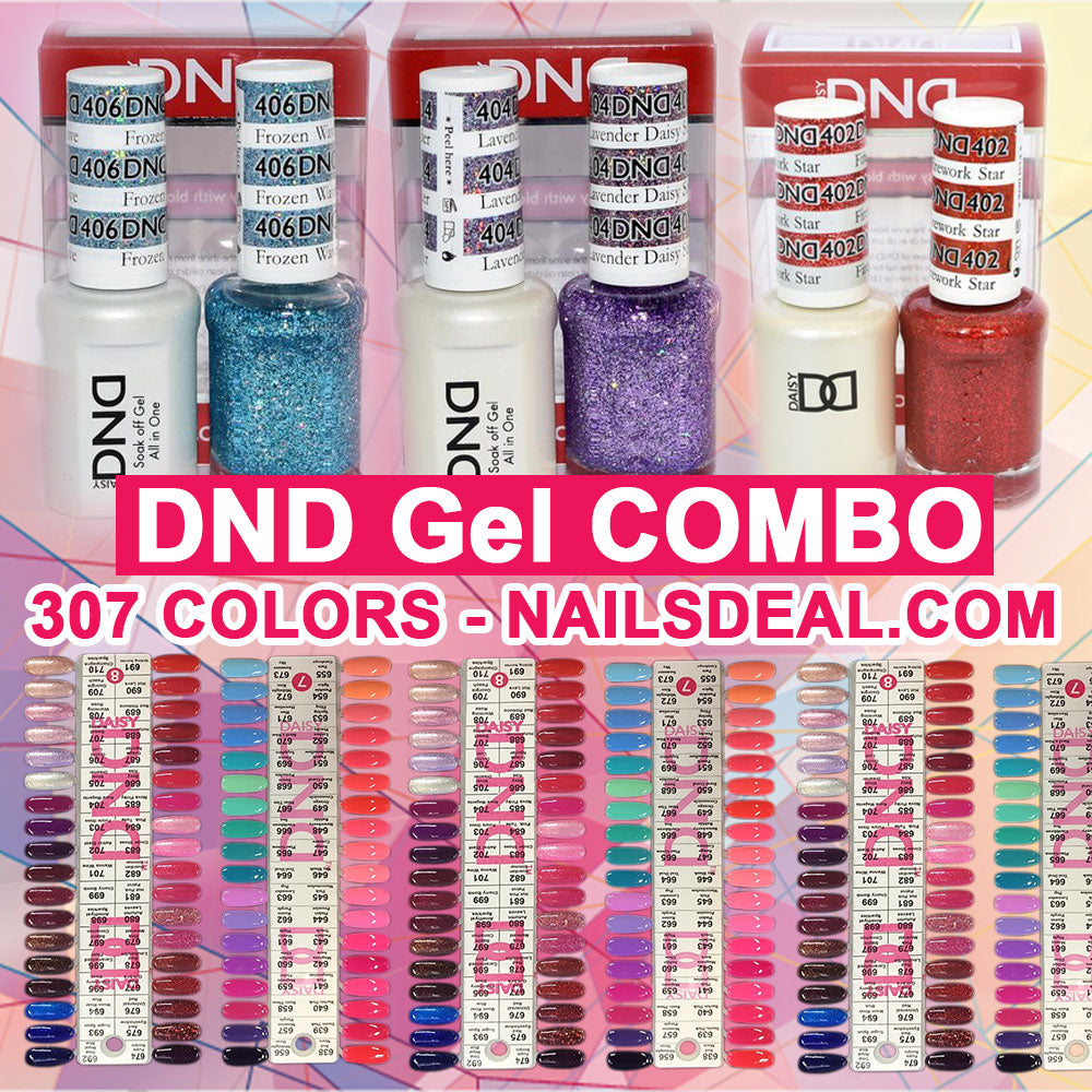 DND Gel Combo - 307 colors (Full Line) - (401 to 710) - Free Color chart
