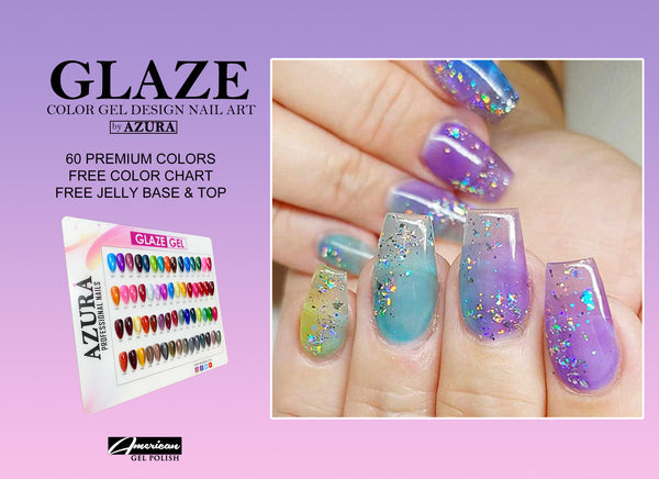 (COMBO) AZURA Glaze Collection (60 colors) - Jelly Nail Art See Through Nail Hot Trend