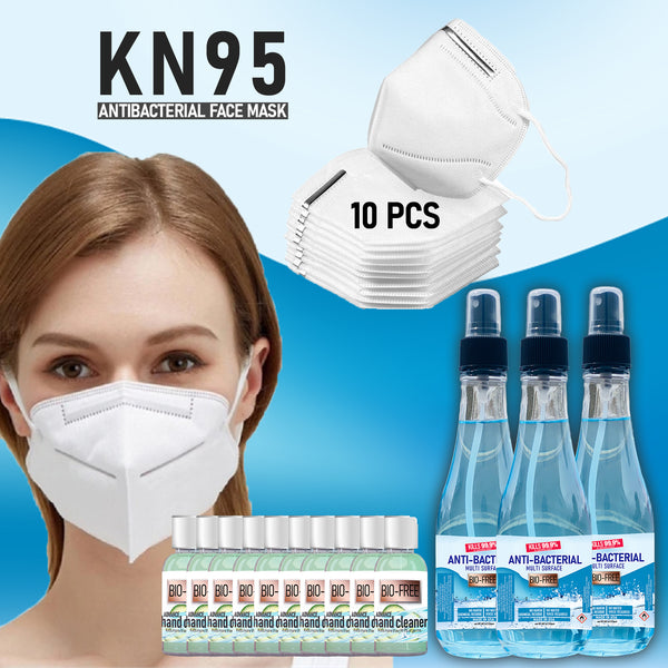 COMBO KN95 Face Mask & Hand Sanirtizer - Anti Bacterial Spray - Virus Mesh Mask with Ear Loop