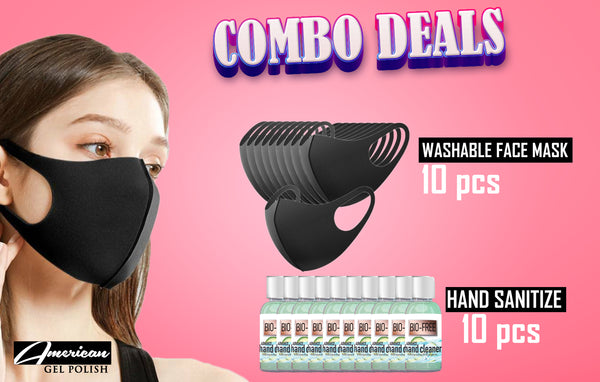 Washable Mask (10pcs) & Hand Sanitize (10pcs) - Combo