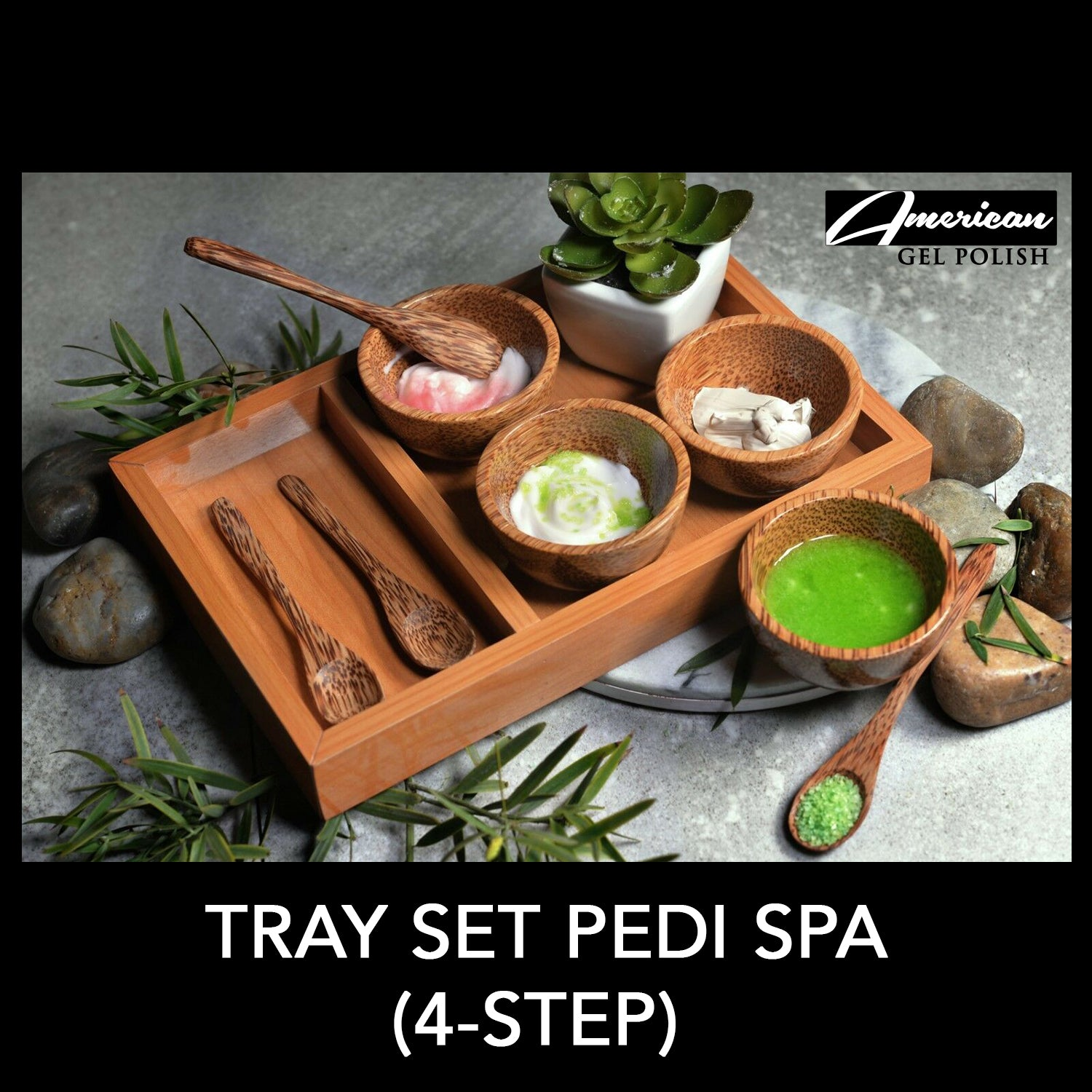 Wood Tray Set (4pcs) for Pedi Spa