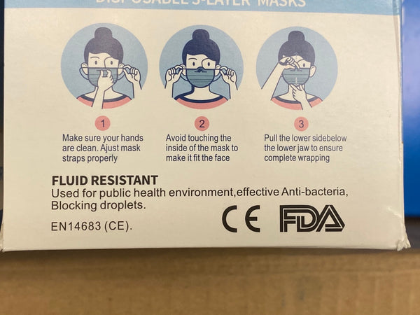 3Ply Disposable Protective Mask, 50 Masks in Box, Blue. FDA registered