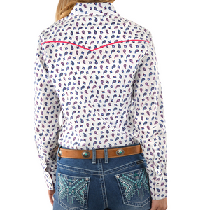 Pure Western Womens Feather Print LS Shirt