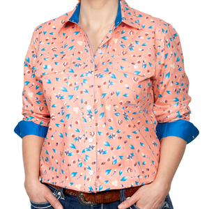 Just Country Womens Abbey Full-Button Print LS Shirt-BLUE