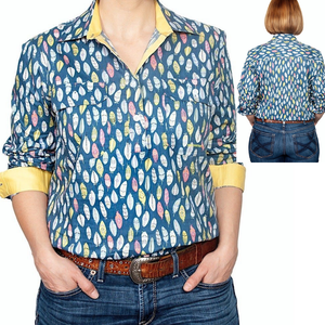 Just Country Womens Georgie Full-Button Print LS Shirt-FEATHERS