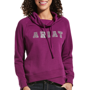Ariat Womens REAL Sequin Cowl Neck Sweatshirt- VIOLET - Stylish Outback Clothing