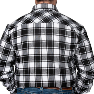Just Country Mens Cameron Flannel Check LS Shirt -BLACK/WHITE - Stylish Outback Clothing