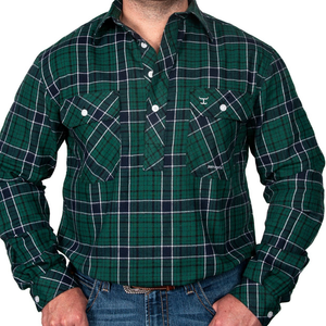Just Country Mens Cameron Half Button flannel Check LS Shirt -GREEN - Stylish Outback Clothing