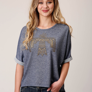 Roper Womens Denim-look Knit Studded Top - Stylish Outback Clothing